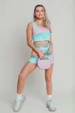 Hayley Hughes Modelled Pastel Blue Tie Dye Crop Top And Shorts Set