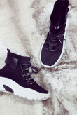Black Lace Up Detail Sock Trainers