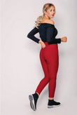 Red Sports Textured High Waisted Leggings