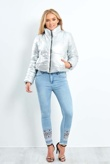 Silver Cropped High Neck Puffer Jacke