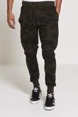 Mens Khaki Camouflage Print Jogging Bottoms