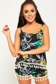 Green And Yellow Floral Print Tassel Top