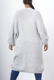 Light grey longline balloon sleeve knitted cardigan