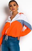 Neon Orange Zip Through Hooded Jacket
