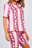 Pink Snake Print T-shirt And Cycling Shorts Set