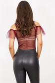 Burgundy Mesh Ruffle Bodysuit