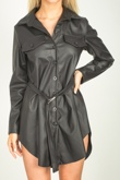 Black Faux Leather Belted Utility Shirt Dress