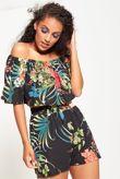 Tropical Printed Bardot Top