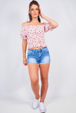 Pink Ditsy Floral Bardot Puff Sleeve Crop Top