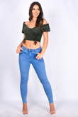 Green Ruched Front Milkmaid Top