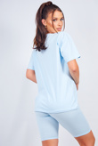 Blue Oversized T-shirt And Cycling Shorts Lounge Set