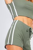 Khaki Side Stripe Ribbed Crop Top And Shorts Loungewear Set