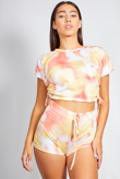 Coral Tie Dye Ruched Crop Top And Shorts Set
