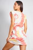 Coral Tie Dye Shoulder Pad Mini Dress