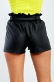 6567-Black High Rise Ruffle Hem Pu Shorts