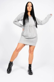 Grey Waist Tied Front Zip Sweat Hoodie Dress