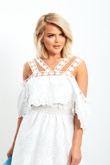 Wrong Picture Check Sku 6851  White Multi Strap Off Shoulder Broderie Detail Mini Dress