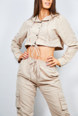 Beige Cargo Crop Shirt And Trouser Co-ord