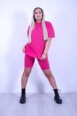Hot Pink T-shirt And Cycling Shorts Lounge Set