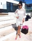 White Premium Crochet Overlay Frill Sleeve Dress
