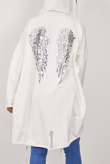 White Sequin Angel Wings Hooded Cardigan