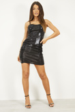 Black Strappy Ruched Side Detail Bodycon Dress
