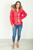 Red Shinny Fur Hood Puffer Jacket