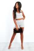 White And Black Striped Crop Top And Shorts Set