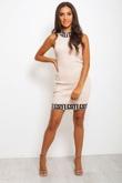 Nude Greek Key Trim Ribbed Bodycon Dress