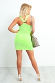 8472-Neon Green Sleeveless Bodycon Dress With Ring Back