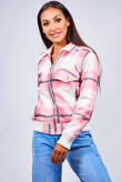 Pink Checked Zip Front Bomber Jacket