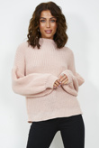 Blush Balloon Sleeve Glitter Knit Jumper