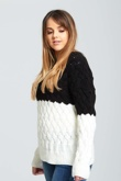 Black Crew Neck Thick Knit Jumper
