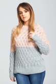 Pink Crew Neck Thick Knit Jumper