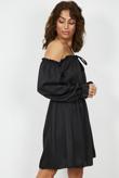 Black Satin Tie Front Frill Bardot Dress