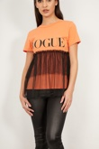 Orange Vogue Mesh Overlay T-Shirt