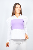 Lilac Ribbed Corset Puff Sleeve Peplum Blouse