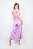 Lilac Striped Frill Shoulder Jumpsuit
