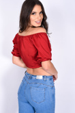 Wine Off Shoulder Tie Front Satin Crop Top