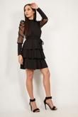 Black Mesh Sleeve Ruffle Tiered Dress