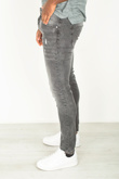 Mens Slim Fit Charcoal Distressed Faded Jeans