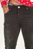 Mens Black Faded Ripped Detail Skinny Jeans