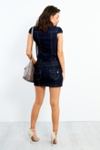 Dark Denim Button Up Belted Dress
