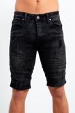 Black Ribbed Distressed Denim Shorts