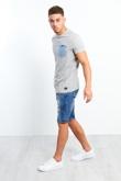 Mens Ripped Dark Denim Shorts