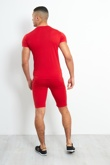 AJ066-Mens Red T-Shirt And Shorts Set With Zip Placket Detail