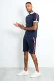 AJ189-Mens Navy Polo Shirt And Short Set With Side Tape