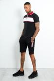 Mens Black Contrast Panel Polo Shirt And Short Set