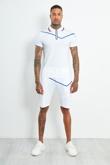 AJ217-Mens White Zip Placket Stripe Detail Polo Shorts Set