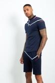 AJ219- Mens Navy Zip Placket Stripe Detail Polo Shorts Set